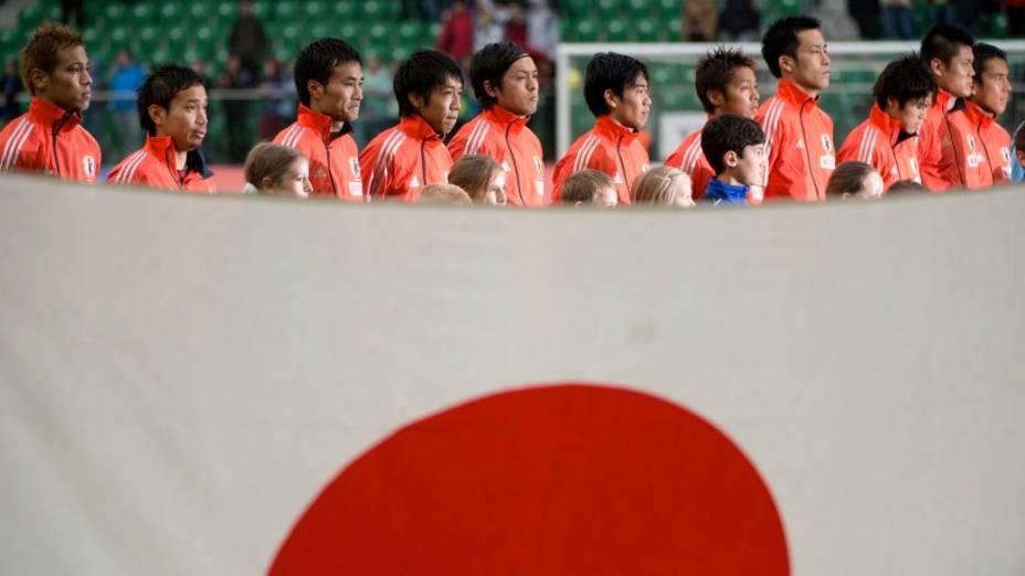 O time do Japão antes da partida contra o Brasil