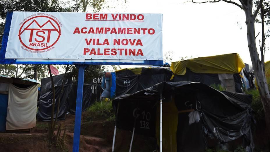 Entrada do terreno invadido na bairro Jardim Ângela, na Zona Sul de São Paulo, batizado de Nova Palestina