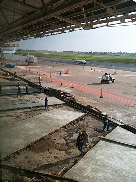 Obras de ampliação do novo terminal do Aeroporto Internacional Marechal Rondon em Cuiabá (MT)