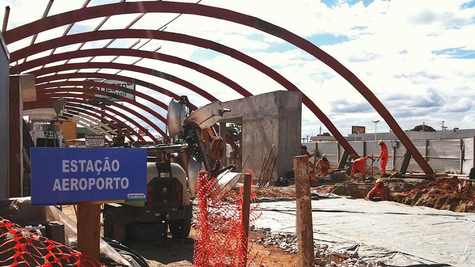 Estação do VLT em frente ao Aeroporto Internacional Marechal Rondon no município de Várzea Grande (MT)