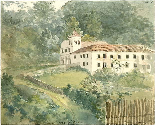 Aquarela de Adrien-Aimée Taunay � Convento dos Capuchinos em Santos (1825, São Paulo).