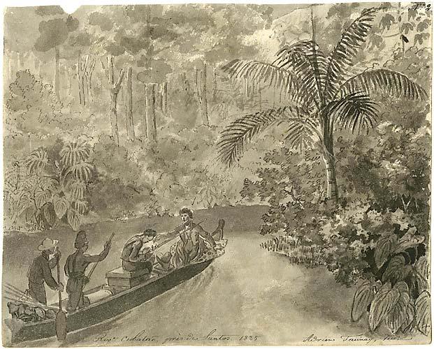 Rio Cubatão perto de Santos (1825, São Paulo). Aquarela Negra pintada pelo francês Adrien-Aimée Taunay.