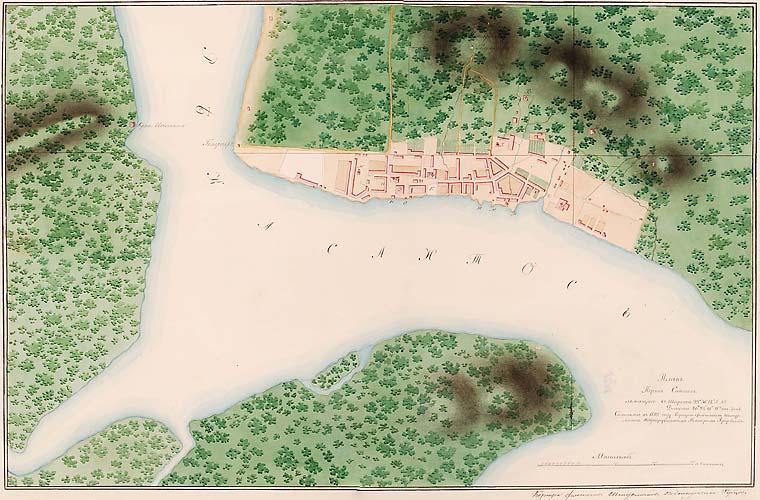 Em 1825, o cartógrafo russo Néster Gavrilovitch Rubtsov pintou a planta do porto de Santos.