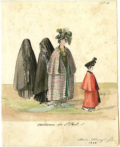 Adrien-Aimée Taunay usou aquarela e nanquim para pintar Vestimentas de São Paulo (1825).