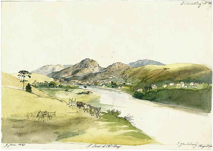 Em 1824, Johann Moritz Rugendas pintou a Vista de Barbacena. O artista usou aquarela e tinta à pena.