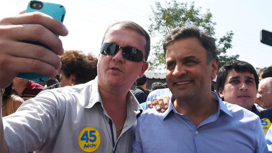 O candidato à Presidência da República, Aécio Neves (PSDB), durante evento do partido em Ribeirão Preto, no interior paulista