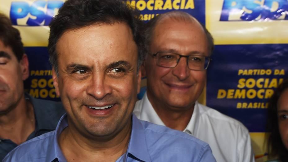 O candidato à Presidência da República, Aécio Neves (PSDB), durante evento do partido em Ribeirão Preto, interior de São Paulo