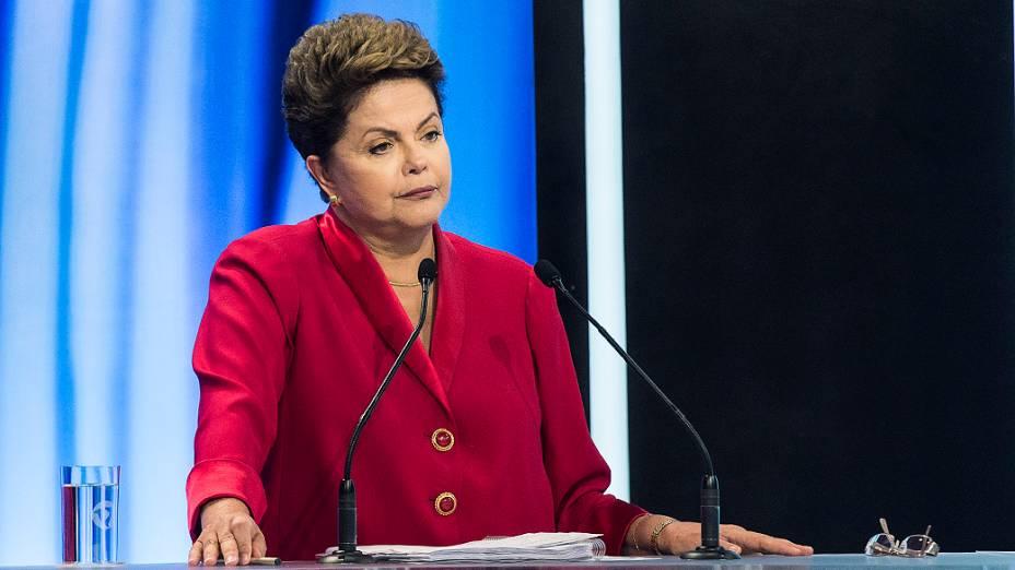 Dilma Rousseff participa do debate na TV Record na noite deste domingo (28)