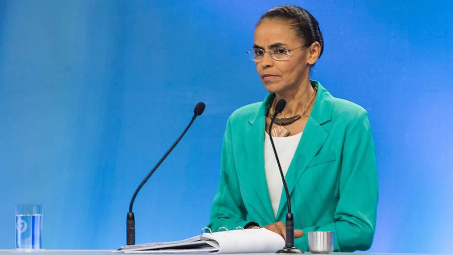 Marina Silva participa do debate na TV Record na noite deste domingo (28)
