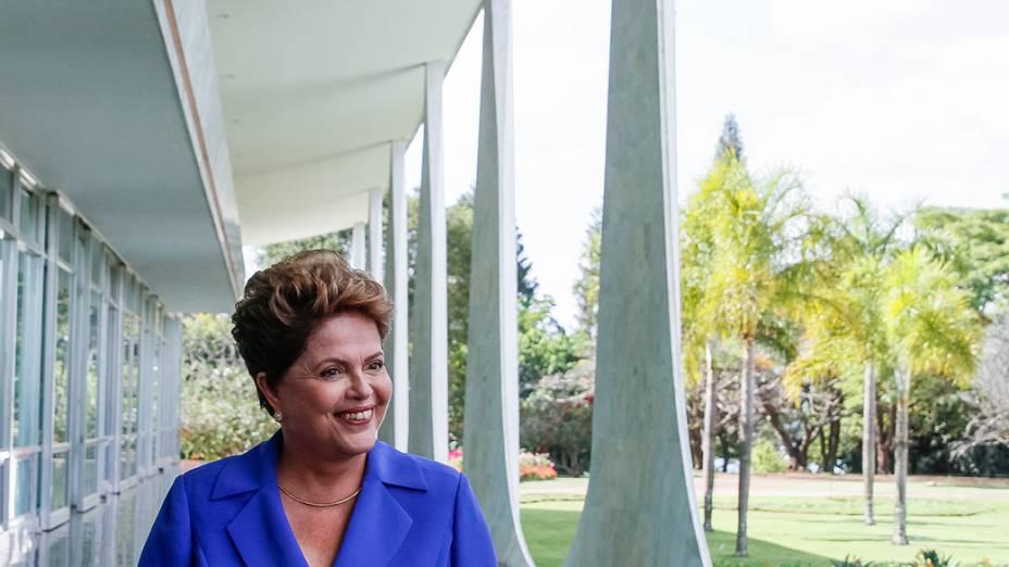 A candidata do PT à Presidência da República, Dilma Rousseff, concede a entrevista coletiva, em Brasília - 10/09/2014