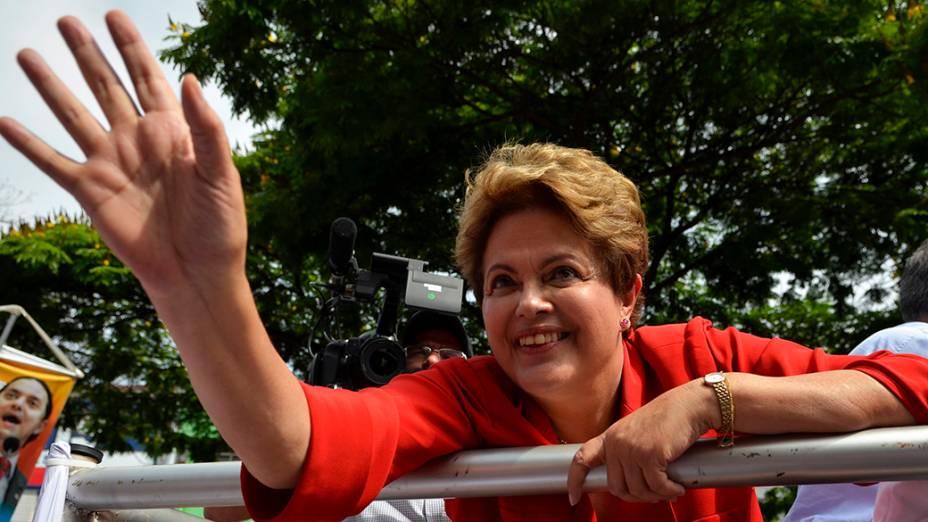 A candidata do PT à Presidêcia da República, Dilma Rousseff, durante campanha em Belo Horizonte - 03/09/2014