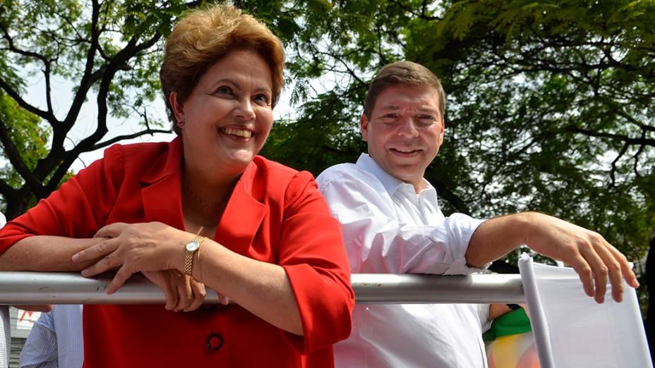 A candidata do PT à Presidêcia da República, Dilma Rousseff, durante campanha em Belo Horizonte