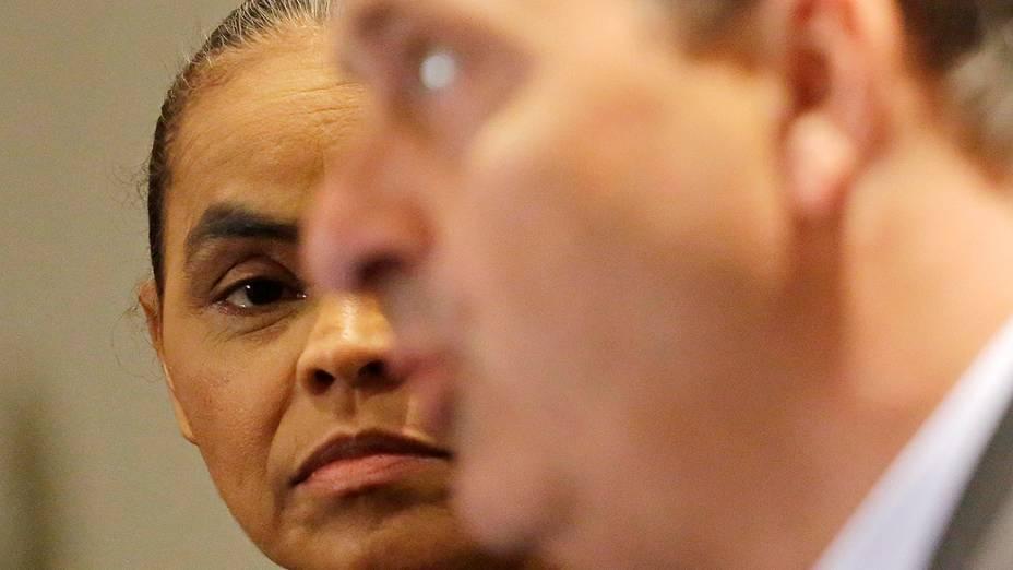 O ex-governador de Pernambuco Eduardo Campos (PSB) e Marina Silva durante entrevista coletiva em Sao Paulo