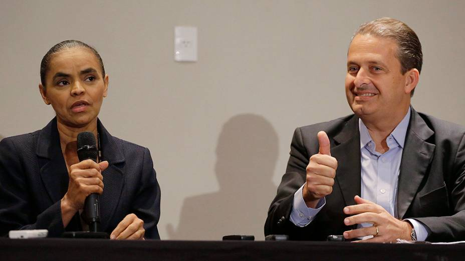 O governador de Pernambuco Eduardo Campos (PSB) e Marina Silva realizam entrevista coletiva durante a tarde desta quinta-feira (10), em Sao Paulo