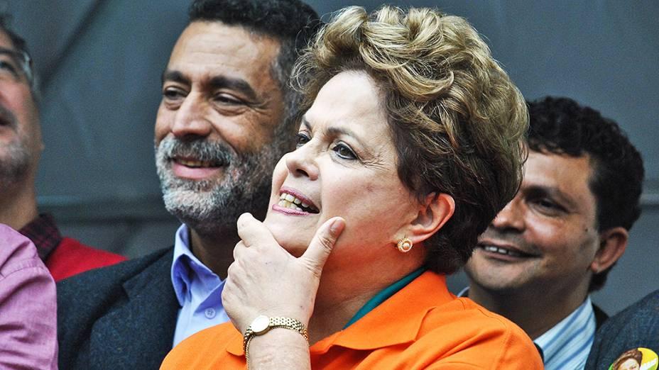 A presidente Dilma Rousseff durante campanha em Osasco, São Paulo - 09/08/2014