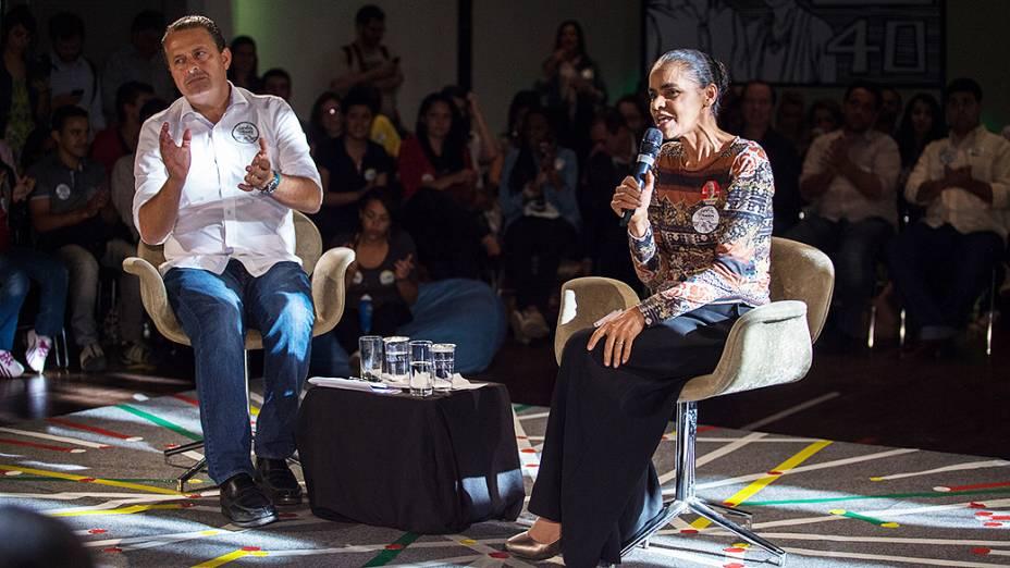 Eduardo Campos e Marina Silva participam do lançamento da Carta da Juventude, em São Paulo