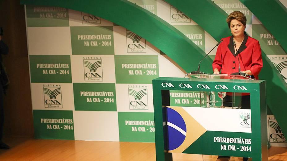 Dilma Rousseff participa do encontro na Confederação da Agricultura e Pecuária do Brasil (CNA), em Brasília - 06/08/2014