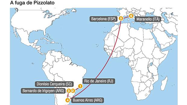 Mapa da fuga do mensaleiro Henrique Pizzolato
