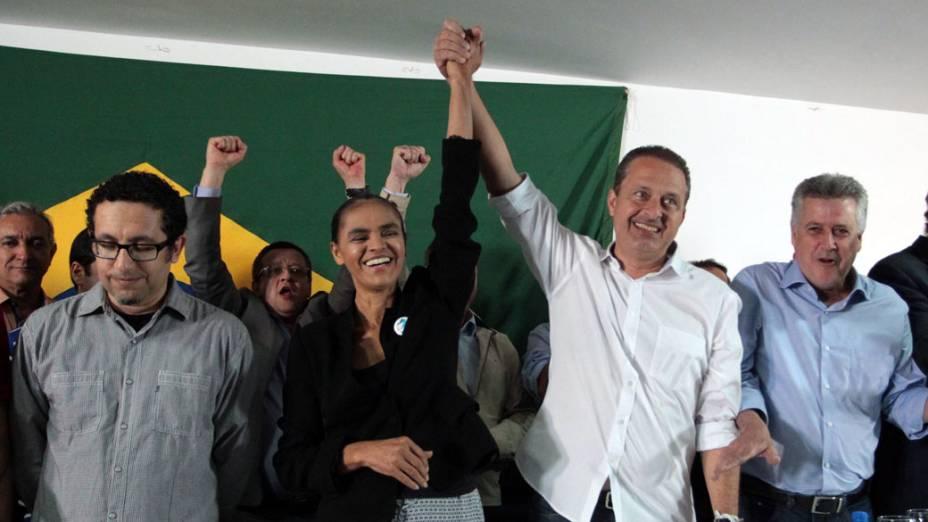 A ex-senadora Marina Silva concede entrevista coletiva no Hotel Nacional, em Brasília, para anunciar sua filiação ao PSB; ela concorrerá à presidência da República, em 2014, ao lado do governador de Pernambuco, Eduardo Campos