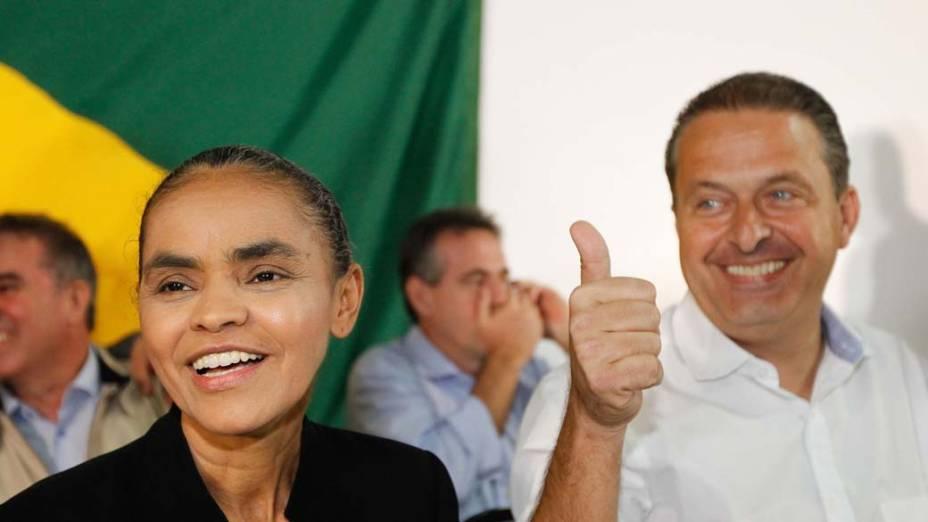 A ex-senadora Marina Silva ao lado do governador de Pernambuco, Eduardo Campos