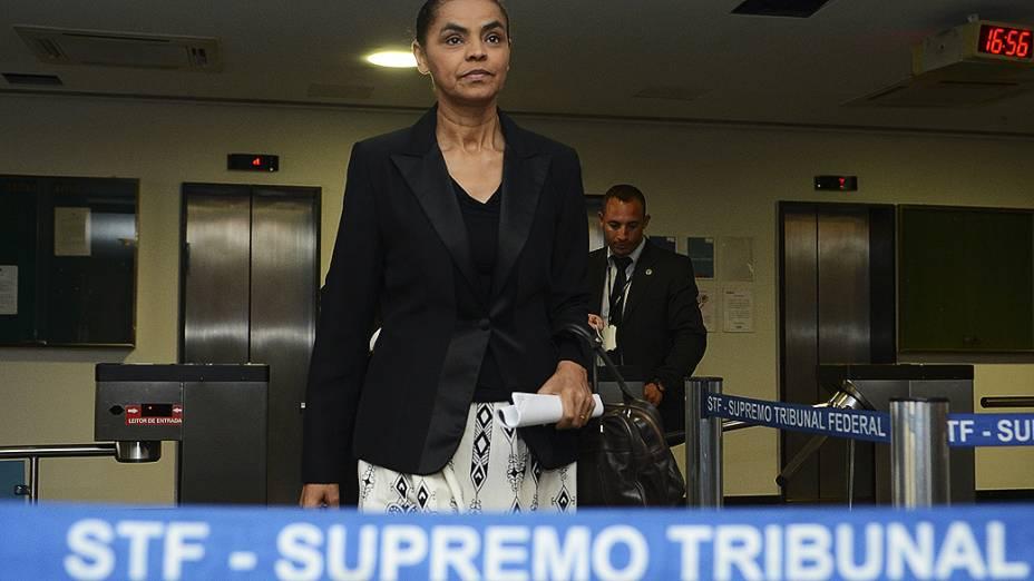 Marina Silva, após reunião com o ministro Dias Toffoli, do Tribunal Superior Eleitoral (TSE) e do Supremo Tribunal Federal (STF) para tratar da aprovação de seu partido, a Rede Sustentabilidade