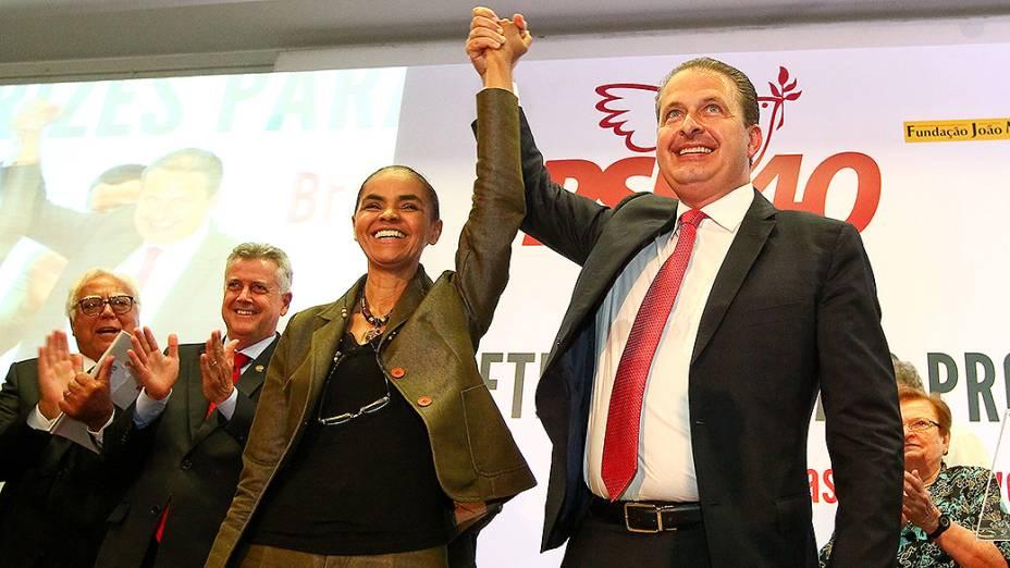 O ex-governador de Pernambuco Eduardo Campos e a ex-senadora Marina Silva durante apresentação das diretrizes para o programa de governo da chapa PSB/Rede, no auditório Nereu Ramos, na Câmara dos Deputados, em Brasília