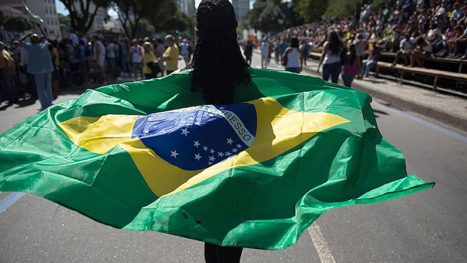 Rio de Janeiro - Manifestantes protestam durante o de 7 de Setembro