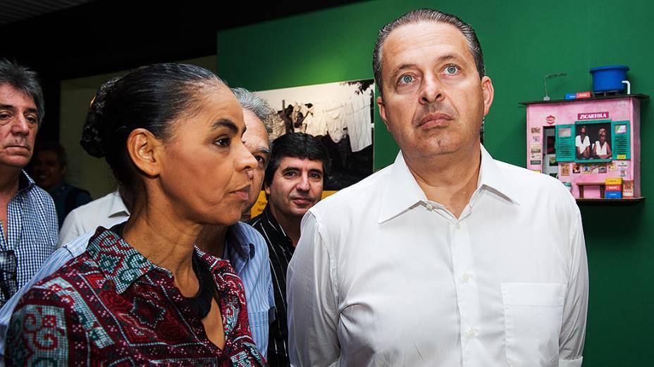 O pré-candidato à Presidência da República pelo PSB, Eduardo Campos, e sua vice, Marina Silva, no Rio