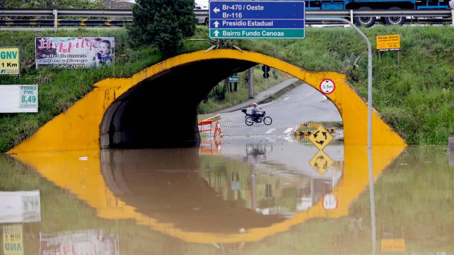 A cidade catarinense de Rio do Sul foi uma das mais atingidas pelas chuvas no último final de semana
