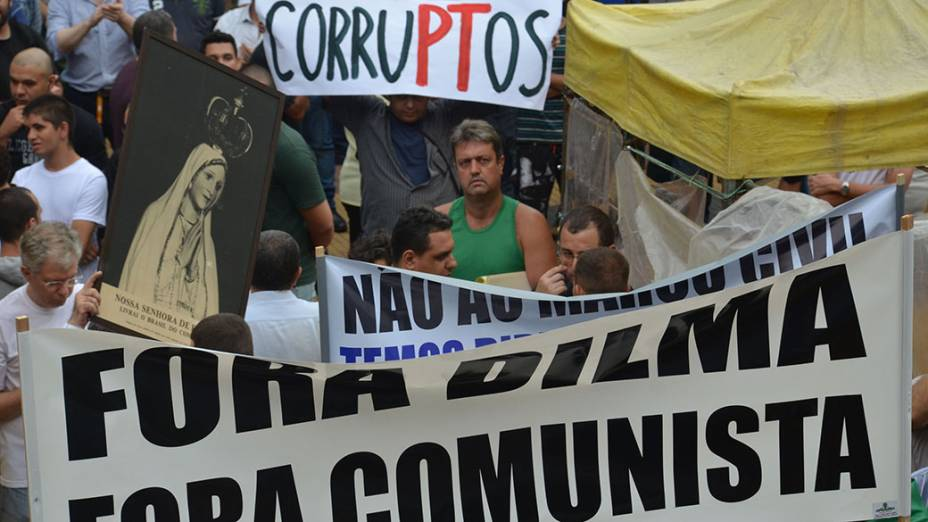A presidente Dilma Rousseff e o PT viram alvo na Marcha da Família