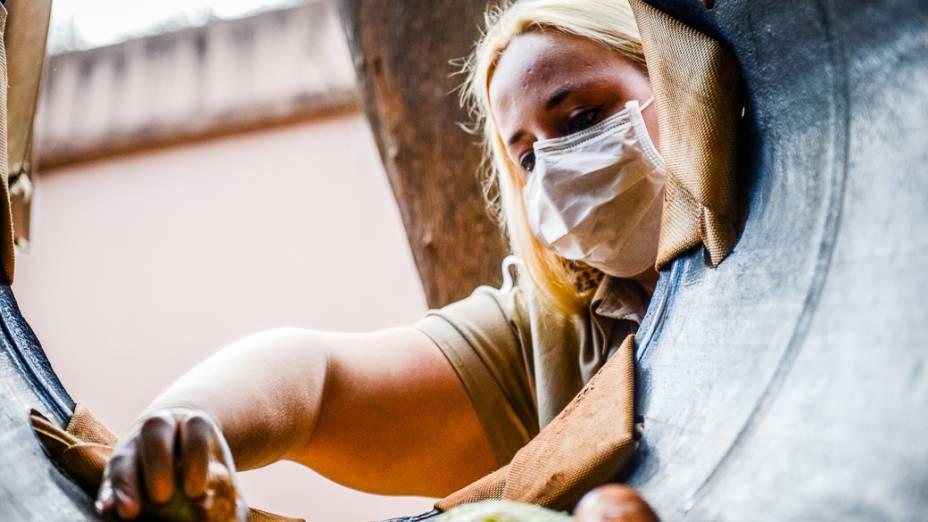 Equipe do Peca distribui alimentos no recinto dos chimpanzés
