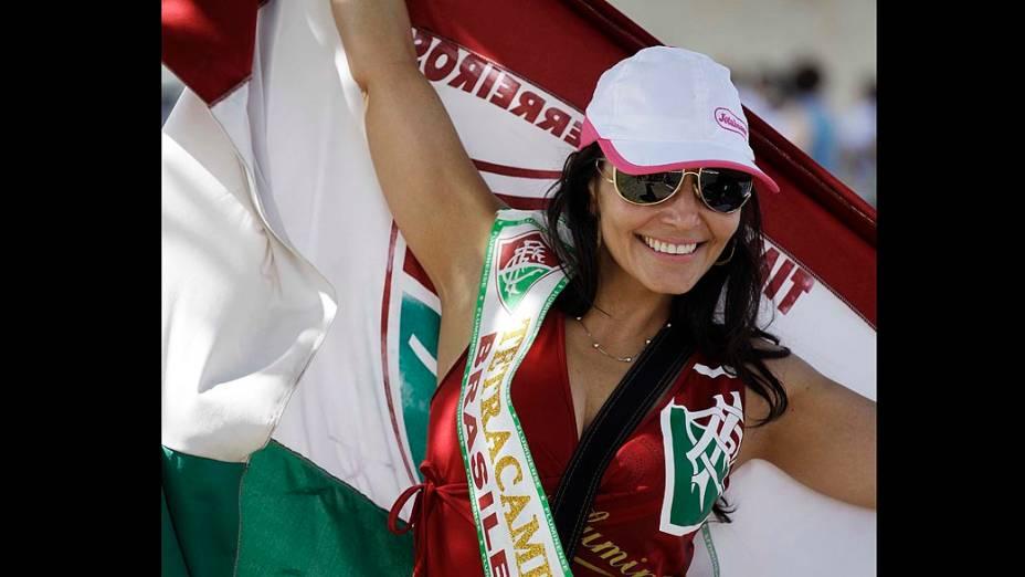 Torcida do Fluminense durante partida válida pelo Campeonato Brasileiro de Futebol contra o Palmeiras, em Presidente Prudente