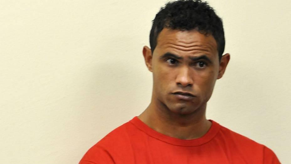 Goleiro Bruno no primeiro dia do julgamento, em Contagem