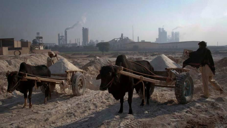 Paquistaneses recolhem areia para confecção de tijolos em Multan