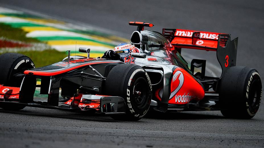 Jenson Button no GP do Brasil de Fórmula 1, em Interlagos