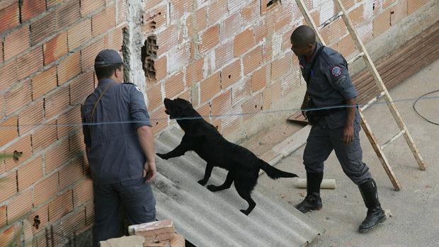 Cães do Corpo de Bombeiros procuram vestígios do corpo de Eliza Samudio, ex-amante do goleiro Bruno