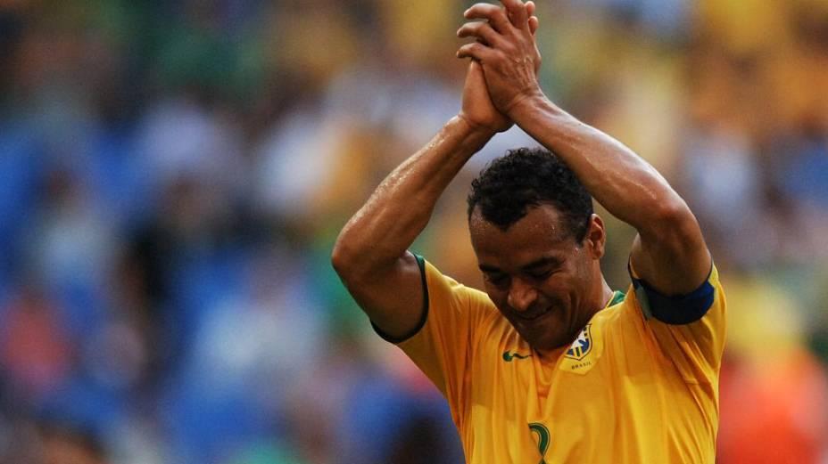 Cafu na partida entre Brasil e Austrália na Copa do Mundo de 2006, a última de sua carreira