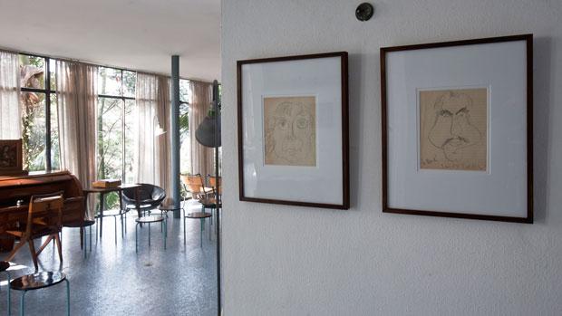Caricaturas de Pietro Maria e Lina Bo Bardi feitas por Alexander Calder em 1948