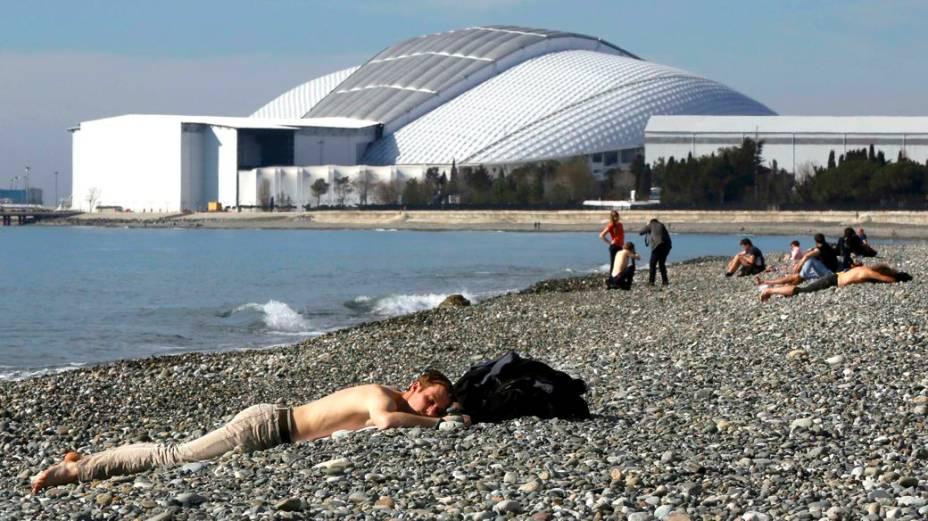 Dia de temperaturas amenas em Sochi, com direito até a banho de sol