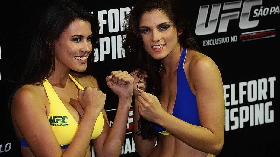 Camile Oliveira (à esq.) e Aline Franzoi durante a pesagem do UFC São Paulo, no Ginásio do Ibirapuera