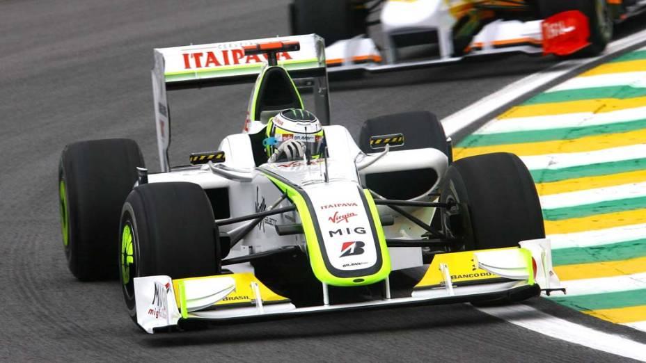 Jenson Button, piloto da Brawn GP, no GP Brasil de Fómula 1 de 2009, no Autódromo de Interlagos
