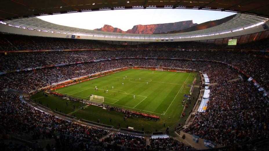 A partida entre Alemanha e Argentina na Copa de 2010, no Cape Town Stadium