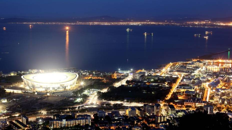 O Cape Town Stadium, na Cidade do Cabo, África do Sul