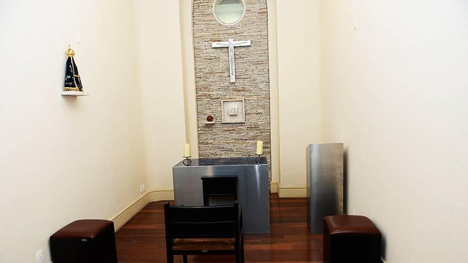 Capela onde o papa Francisco vai ter à disposição no Seminário de Bom Jesus, em Aparecida, no dia 24 de julho