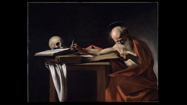 Tela <em>São Jerônimo que Escreve</em>, de Caravaggio
