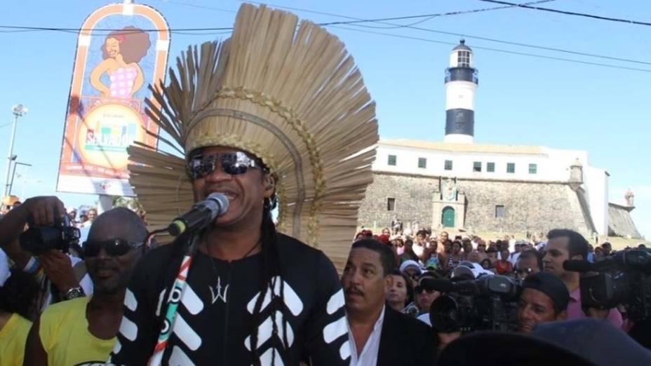 Carlinhos Brown no carnaval de Salvador, em 22/02/2012