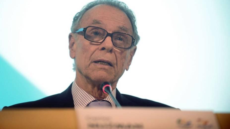 Carlos Arthur Nuzman em entrevista coletiva sobre o furto de dados de Londres-2012 por funcionários do comitê Rio-2016, que ele preside. O cartola negou ter responsabilidade no caso