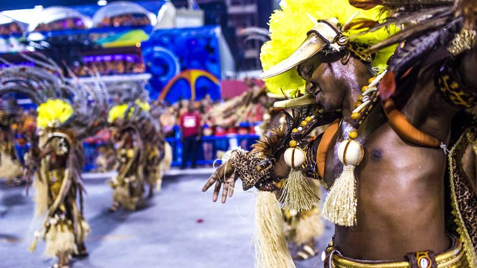 Desfile do Salgueiro pelo Grupo Especial do Carnaval do Rio de Janeiro, na de Marquês da Sapucaí
