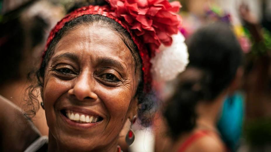 Foliões no bloco Céu na Terra, em Santa Teresa, no Rio de Janeiro