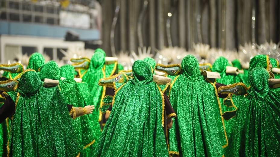 Dragões da Real durante desfile no Anhembi